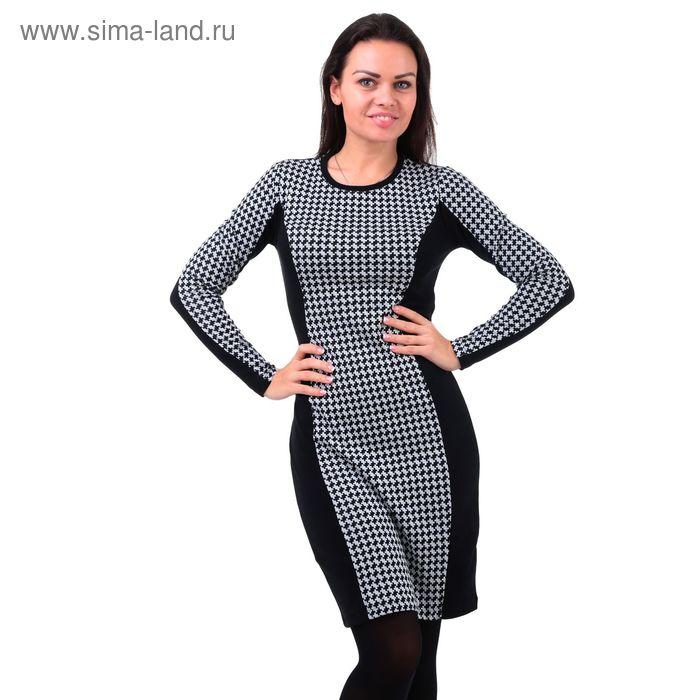Платье женское 5804 чёрный/шанель/суровый, р-р 56 (112-118)