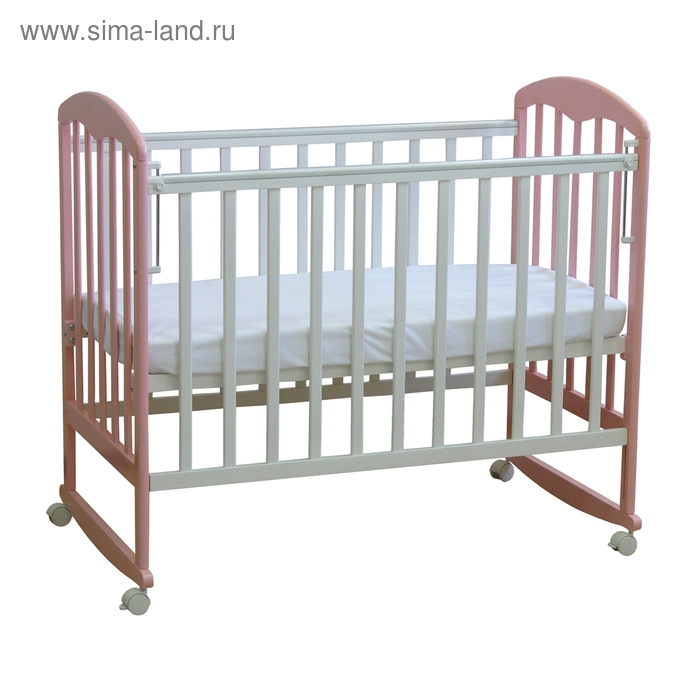 Детская кроватка «Фея 323» на колёсах или качалке, цвет белый/магнолия