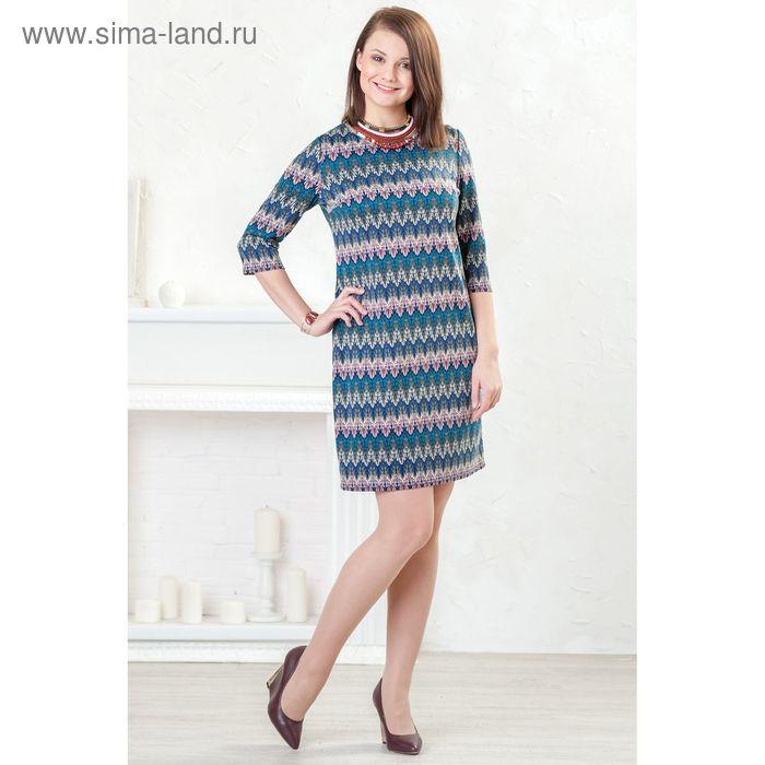 Платье женское, размер 52, рост 164 см, цвет голубой/розовый/орнамент (арт. 4362 С+)