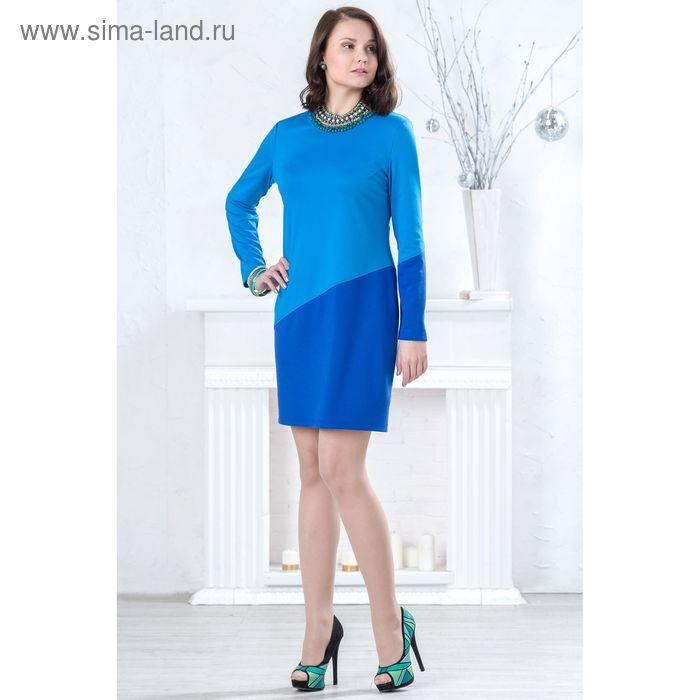 Платье женское, размер 52, рост 164 см, цвет голубой/синий (арт. 4397 С+)