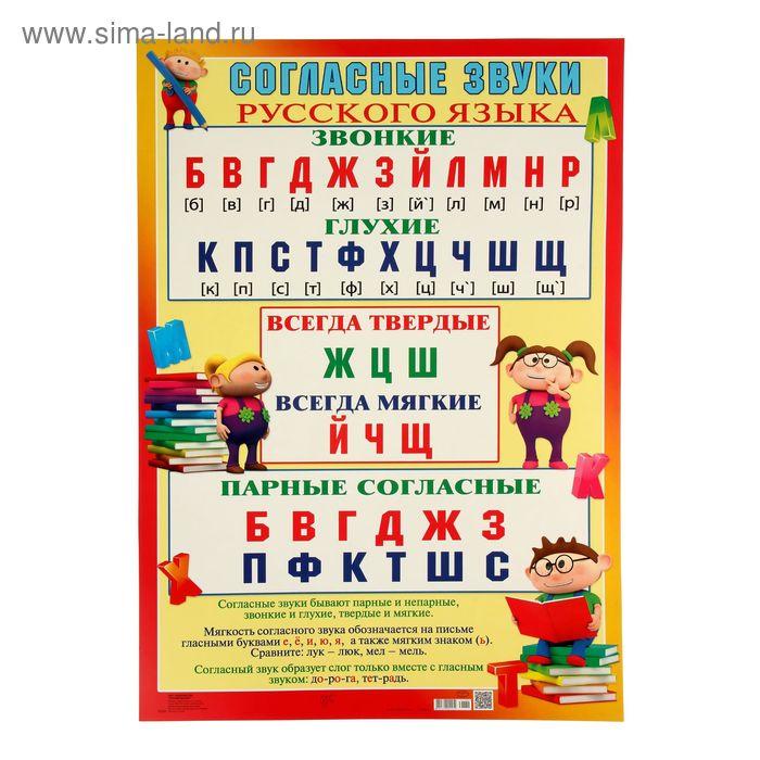 "Плакат ""Согласные звуки"" 490х690мм"