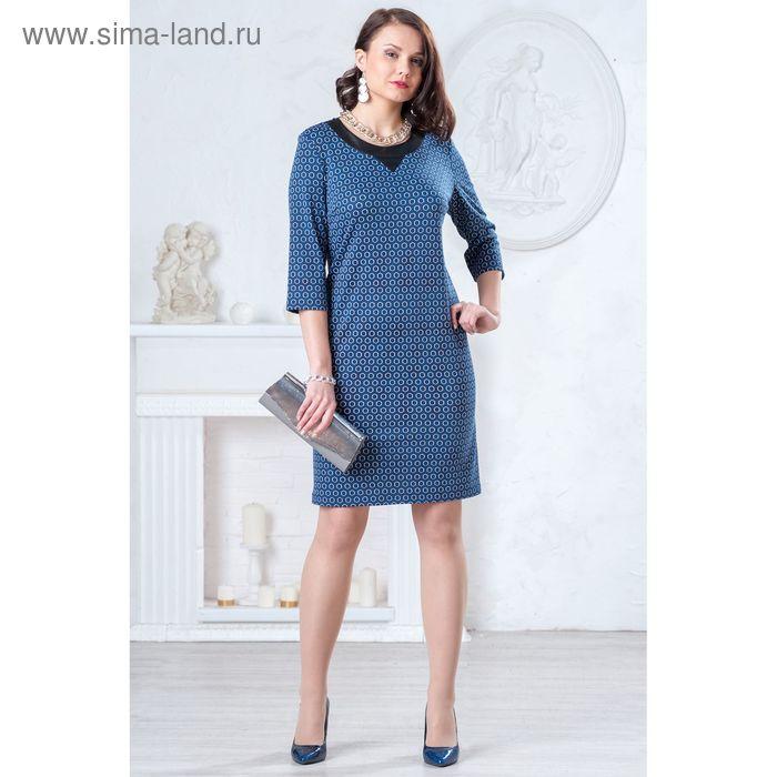 Платье женское, размер 50, рост 164 см, цвет синий/чёрный/белый (арт. 4388 С+)