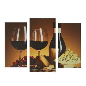 """Модульная картина на подрамнике """"Бокал вина"""", 2 шт. — 25,5×50,5 см, 30,5×60 см, 60×100 см"""