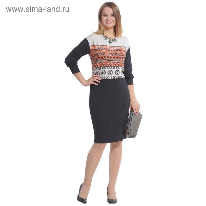 Платье женское 4106 С+, размер 54, рост 164 см, цвет черный/бежевый/оранжевый