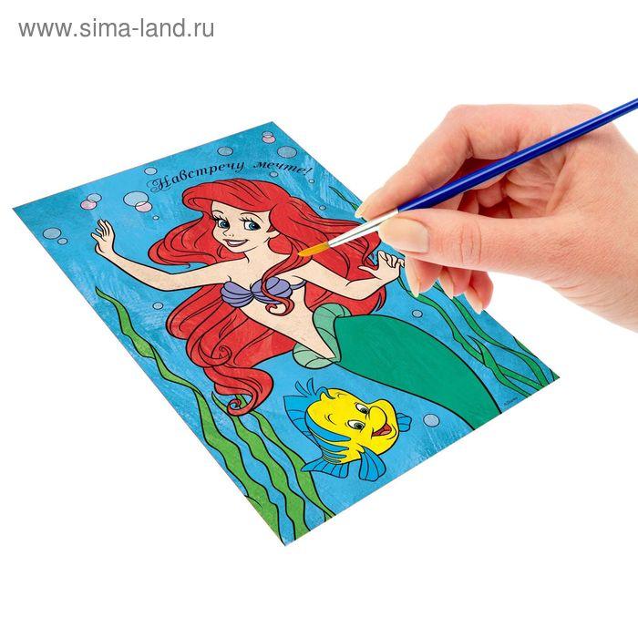 """Роспись """"Навстречу мечте"""" по номерам красками (наб.красок 6 цветов по 3 мл + кисть + декор), Принцессы: Русалочка"""
