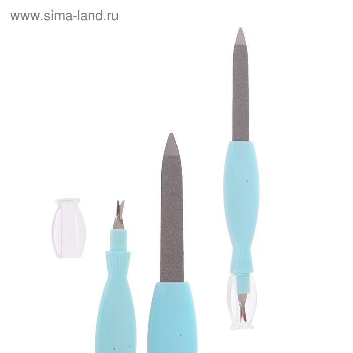 Пилка-триммер металлическая для ногтей, фигурная ручка, 14см, цвет МИКС