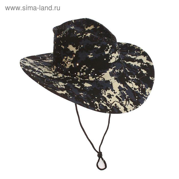 """Шляпа ковбойская """"Камуфляж"""", пиксели, р-р 56-58, длинные поля"""