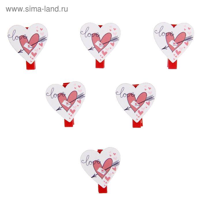 """Прищепки-декор """"Сердце со стрелой"""", набор 6 шт."""