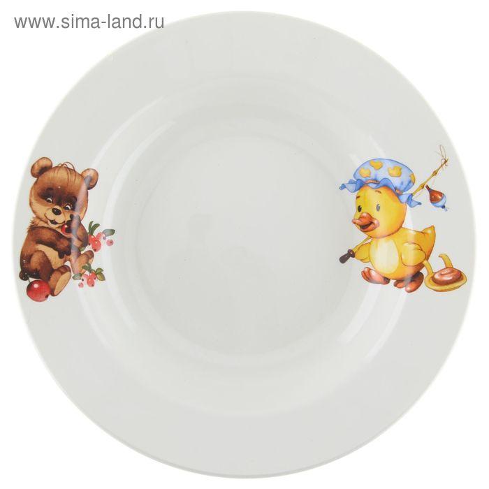 """Тарелка глубокая 250 мл d=20 см h=4 см """"Утенок, медвежонок"""""""