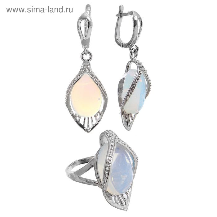 "Набор 2 предмета: серьги, кольцо цветок каллы ""Лунный камень"", размер МИКС"