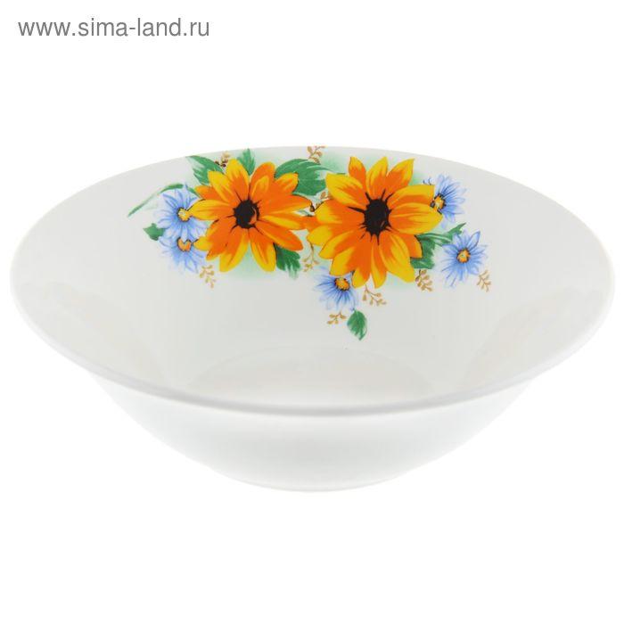 """Салатник 600 мл, d=18 см, h=5,6 см """"Желтый цветок"""""""