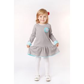 Платье для девочки, рост 110 см, цвет серый, принт клетка (арт. И-031/1)