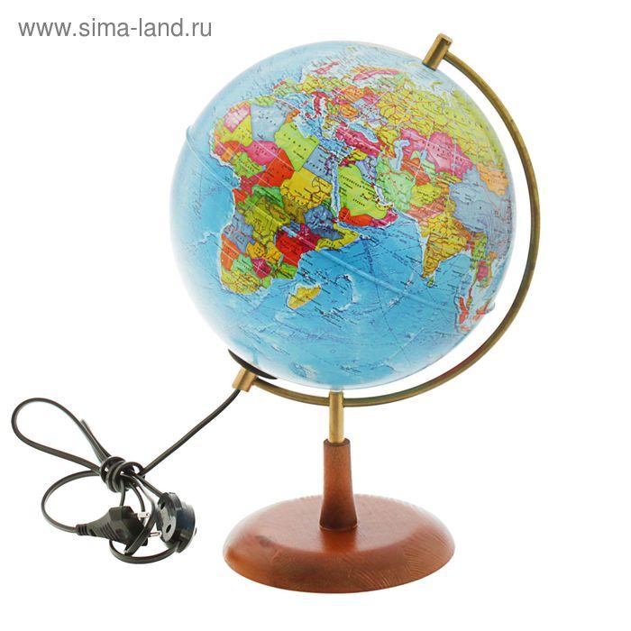 """Глобус на деревянной подставке политический диаметр 210мм """"Элеганс"""", с подсветкой"""
