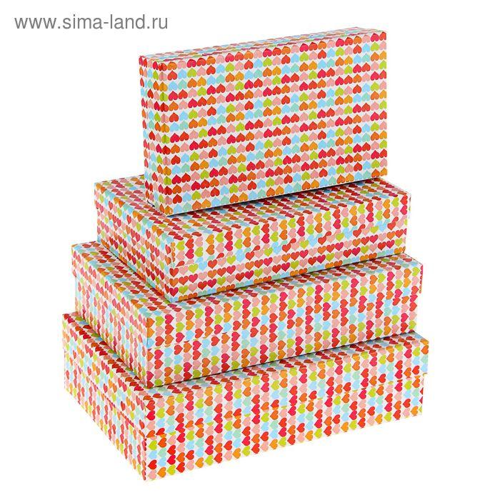 """Набор коробок 4 в 1 """"Разноцветные сердца"""""""