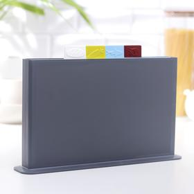 Набор разделочных досок 36х23 см с маркерами, на подставке, 4 шт