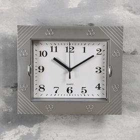 Часы настенные прямоугольные 'Волна', 2 держателя, циферблат белый, рама серебристая Ош