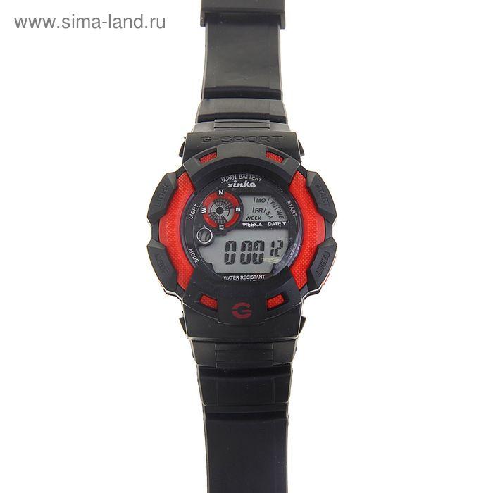 Часы наручные муж.электронные, с силик/ремешком, черные циферблат круг с красной вставкой