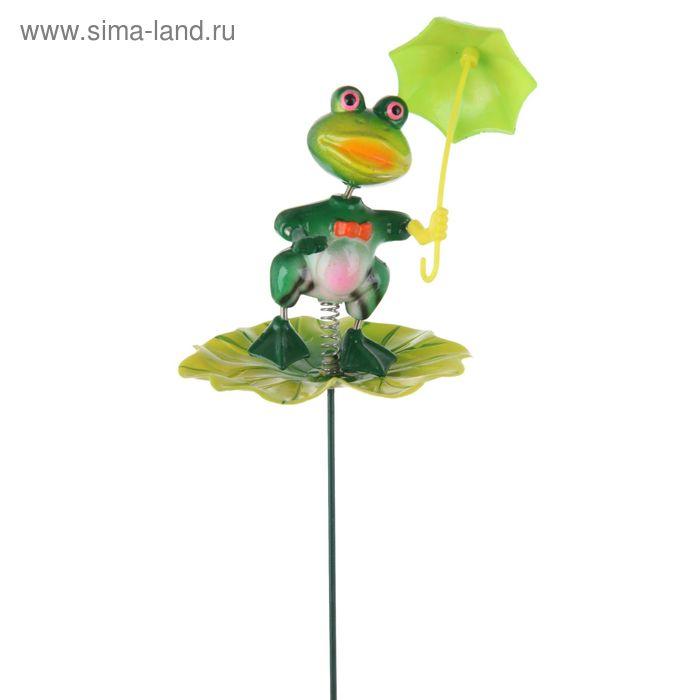 """Декоративный штекер """"Лягушка с зонтиком"""" микс"""