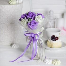 Букет-дублер 'От всего сердца' 7 цветов, молочный+фиолетовый Ош
