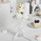 """Букет с мишкой """"Для тебя"""", 3 цветка, цвет белый"""
