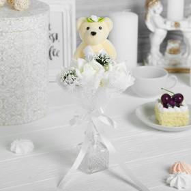 Букет с мишкой 'Для тебя', 3 цветка, цвет белый Ош