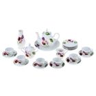 """Сервиз чайный """"Королева цветов"""", 23 предмета: чайник 1,75 л, сахарница 600 мл, сливочник 350 мл, сухарница 27 см, ваза 21 см, 6 чашек 250 мл, 6 блюдец 15 см, 6 тарелок 17,5 см"""