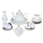 """Сервиз чайный """"Солнечный"""", 23 предмета: чайник 1,75 л, сахарница 600 мл, сливочник 350 мл, 6 чашек 250 мл, 6 блюдец 15 см, ваза 21 см, сухарница 27 см, 6 тарелок 17 см"""