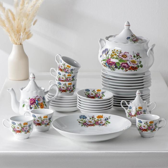 """Набор столовой посуды """"Букет цветов"""", 34 предмета"""
