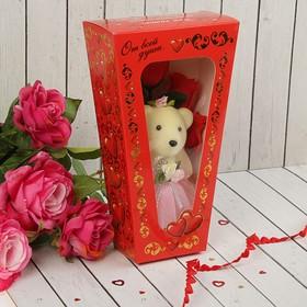 """Мишка с розами в коробке """"От всей души"""" 5 красных роз"""