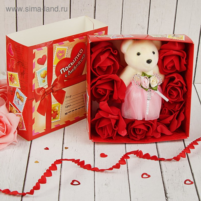 "Мишка с розами в коробке ""Я тебя люблю"" 7 цветков"