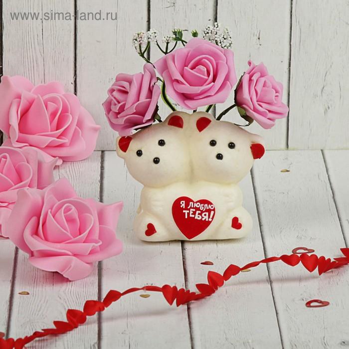 """Мишки с цветами  """"С любовью"""" 3 розовых розы"""