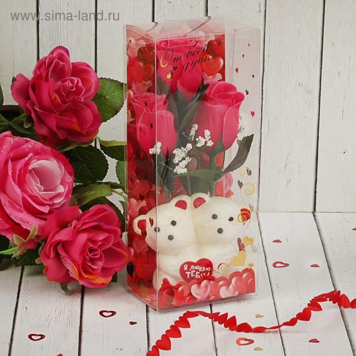 """Мишки с розами в коробке """"Только для тебя"""" 3 розовых розы"""