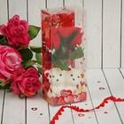 """Мишки с розами в коробке """"Только для тебя"""" 3 красных розы"""