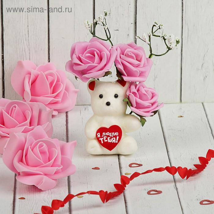 Мишка с цветами в коробке, 3 розовых розы