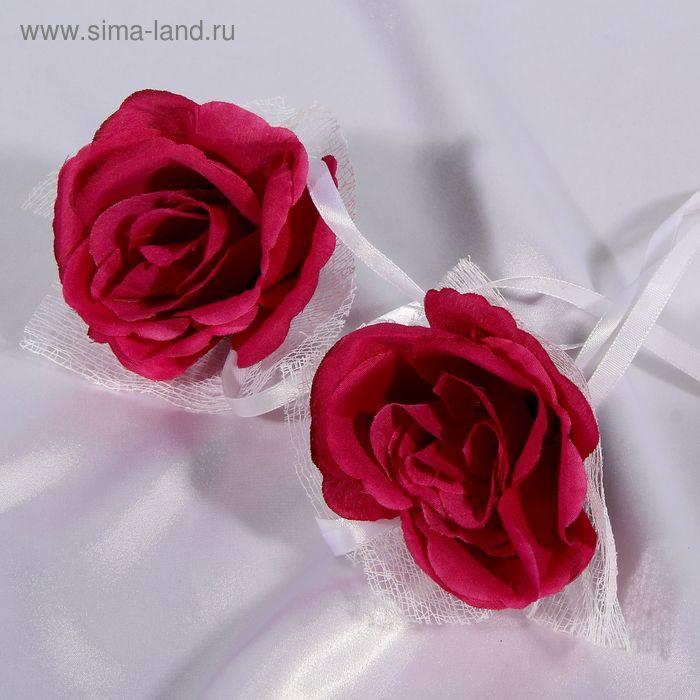 Набор темно-фиолетовых роз для украшения свадебного авто