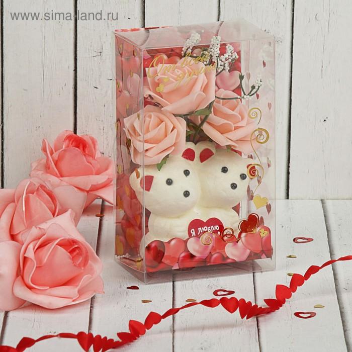 """Мишки с цветами в коробке """"С любовью"""" 3 коралловых розы"""