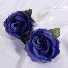 Набор синих роз для украшения свадебного авто