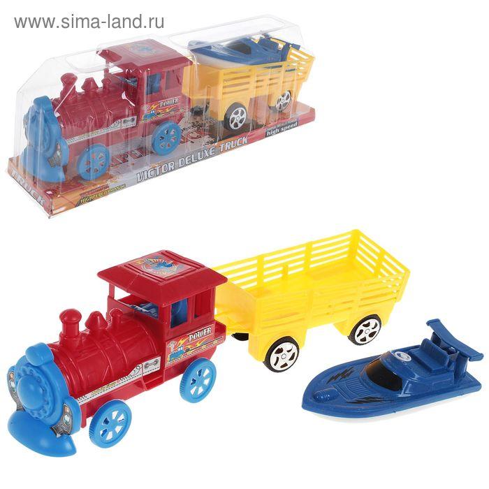 Паровоз инерционный с грузовым вагоном, цвета МИКС