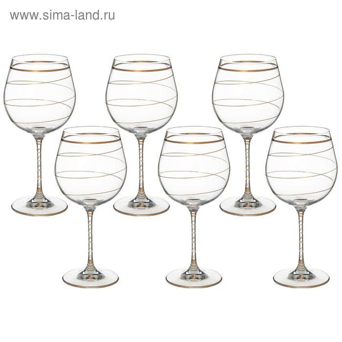 """Набор бокалов для вина 610 мл """"Престиж. Золотая спираль"""" , 6 шт"""
