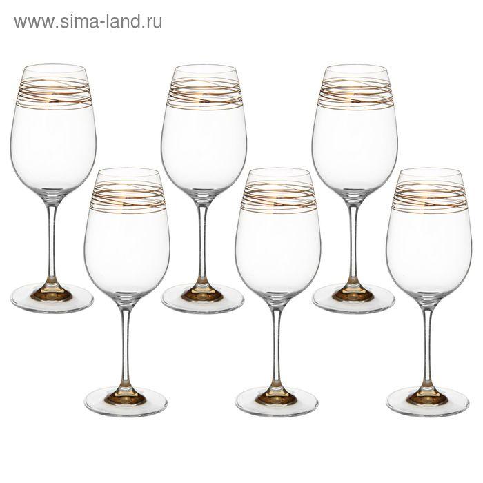 """Набор бокалов для вина 450 мл """"Престиж. Пружинка с золотым дном"""", 6 шт"""
