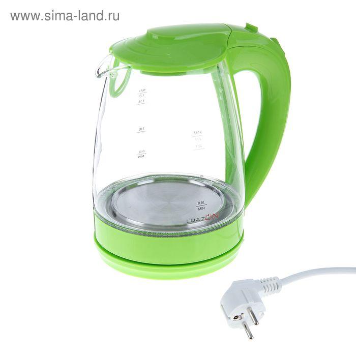 Чайник электрический LuazON LSK-1705, 2200 Вт, 1.7 л, стекло, зеленый
