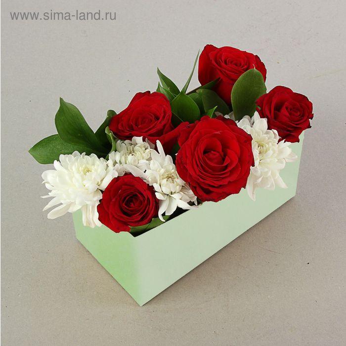 "Подарочная коробка для цветов ""Флербокс"" салатовый, 20 х 10 х 10 см"