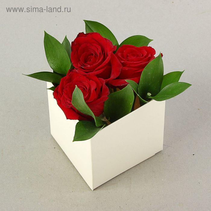 "Подарочная коробка для цветов ""Флербокс"" кремовый, 10 х 10 х 10 см"