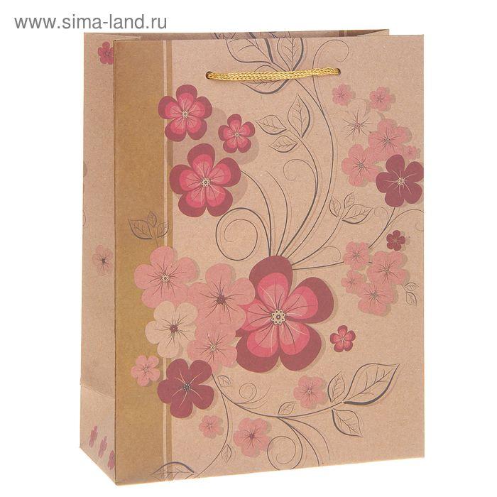 """Пакет крафт """"Весенние цветы"""", 23 х 32 х 8,5 см"""