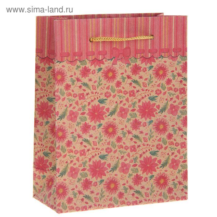 """Пакет крафт """"Цветочная поляна"""""""