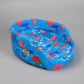 Лежак овальный с бортиком 38 х 25 х 14 см микс цветов
