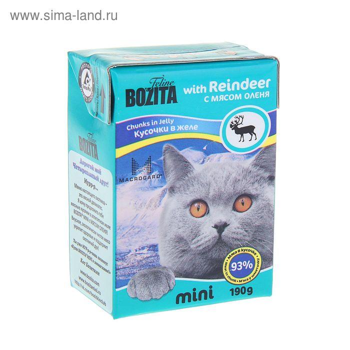 Влажный корм BOZITA Feline MINI для кошек, кусочки оленины в желе, 190 г
