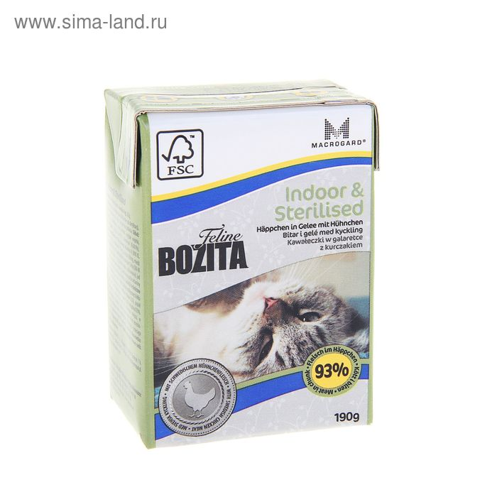 Влажный корм для домашних кошек BOZITA Feline Funktion Indoor & Sterilised, 190 гр
