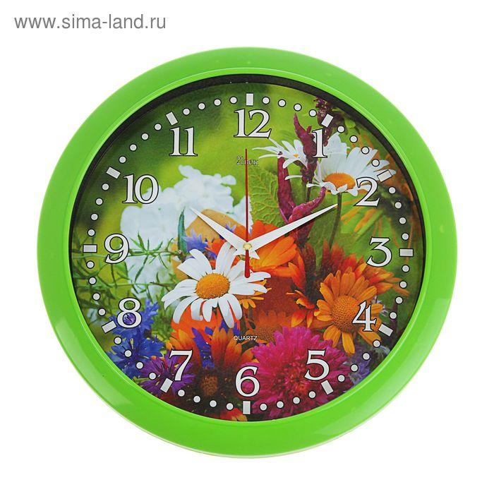 """Часы настенные круглые """"Лесные цветы"""", зеленое кольцо, 30 см"""