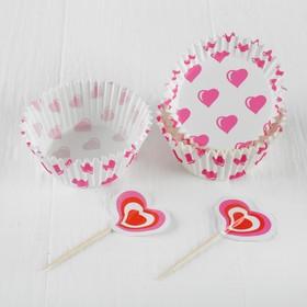 """Украшение для кексов """"Сердечки"""", набор 24 пики, 24 формочки"""